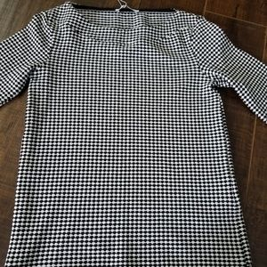 Zara Houndstooth Print 3/4 Sleeve Top Size S